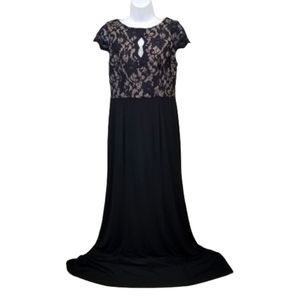 Eliza J Maxi Dress 6 Black Nude Lace Keyhole Maxi